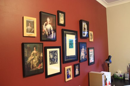 Inspiration wall; some are my works of art some are portraits of famous women of the 1700-1800's. I just love their fashion..