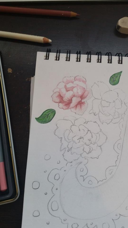 Joanouk Flowers and Lace Starting Sketch