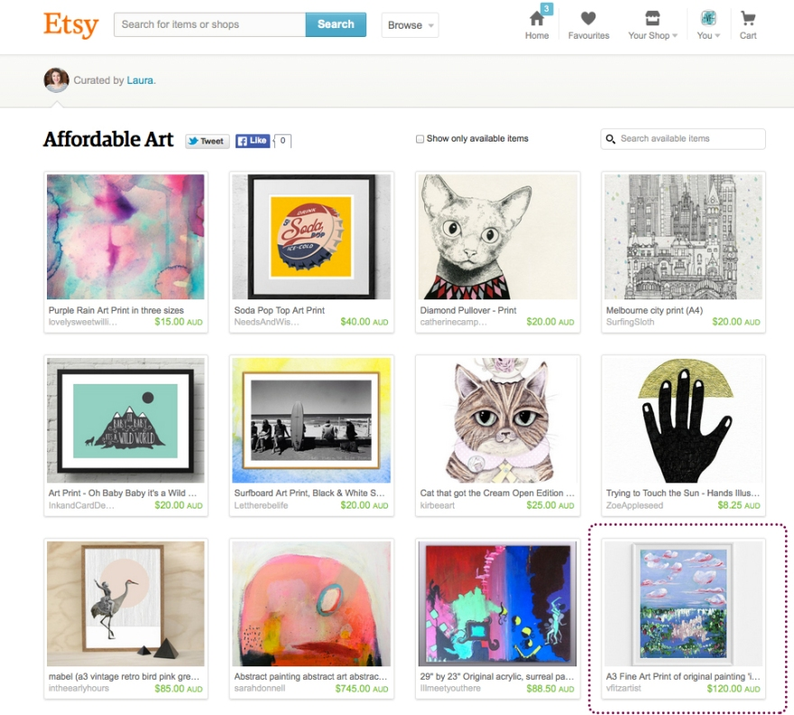 Etsy Australian Afoordable Art