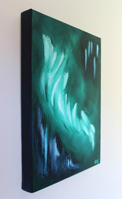jejune green abstract canvas art left instu