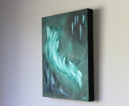 jejune green abstract canvas art right side in situ